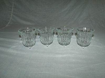 4 Short Round Thick Clear Vintage Home Interior Votive Cup Candle Holders