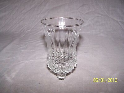 1 Clear Diamond Point Glass Vtg Home Interior Votive Cup Candle Holder   4 1/2""