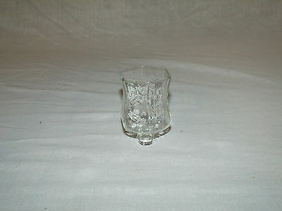1 Small Clear Ribbed Textured Glass Vtg Home Interior Votive Cup Candle Holder