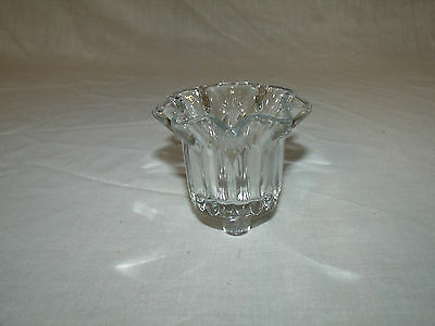 1 Ribbed Ruffled Top Clear Glass Vintage Home Interior Votive Cup Candle Holder