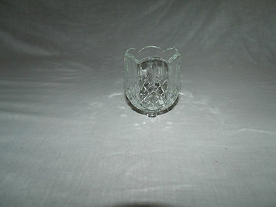 1 SCALLOPED CLEAR GLASS VTG HOME INTERIOR VOTIVE CUP CANDLE HOLDER w/X PATTERNS