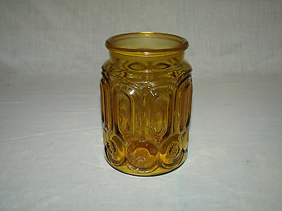 "Large VINTAGE Amber MOON & STAR L.E. SMITH GLASS Canister    7 5/8"" tall"