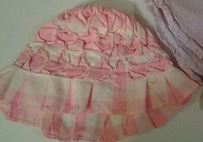 Vintage Childs Sun Hat Runch Pleated Pink Checked  Reenactment Theater