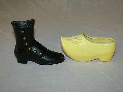 Vintage Decorative Collectible Art Pottery SHOE & Handcrafted Metal BOOT