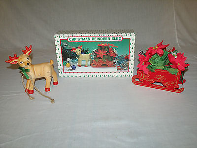 1989 Hand Painted Porcelain CHRISTMAS REINDEER & WOODEN SLED w/POINSETTIAS