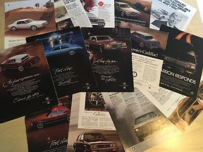 E Cadillac Ads 1980's Lot Of 14 .25 cents each
