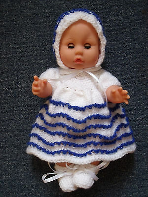 4 pce White/Blue Stripe Hand Knitted Dolls Clothes. 30-32cm 12-13in.