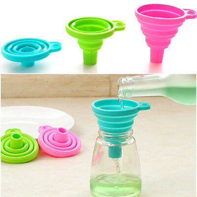 3x Flexible Foldable Silicone Kitchen Oil Collapsible Kitchen Funnel Hopper Tool