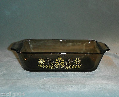 Vintage Glasbake  Smoked Brown Glass Yellow Daisy Design Loaf Pan