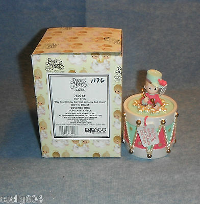 """Precious Moments """"top This""""  Boy In Drum Covered Box By Enesco"""