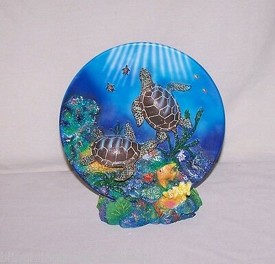Four Turtles Swimming On A Reef  Collector Plate
