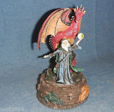 Medieval Legends Wind Up Music Box Merlin Casting A Spell Polyresin Figurine