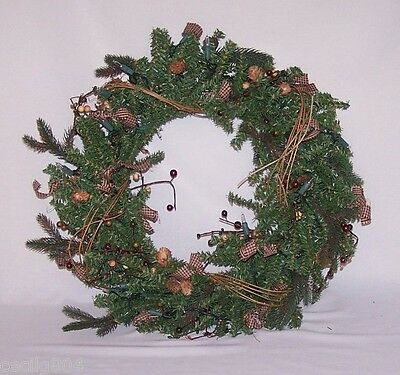 Artificial Homespun Pre Lit Christmas Wreath