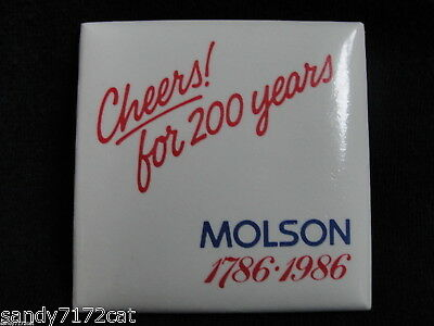 Pinback Button Molson 1786-1986 Cheers 200 Years Anniversary Beer Red White Blue