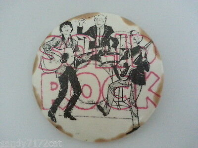 Pinback Button Solid Rock 1960s Vintage White Black Red 3 Pc Band One