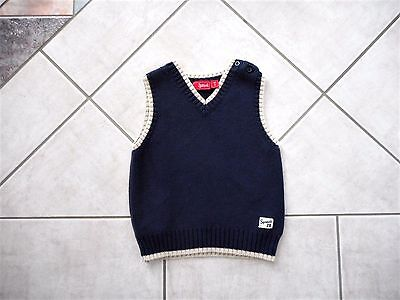 Baby Toddler Infant Boys Size 2 Sprout Dark Blue & Cream Knit Vest V Neck Cotton