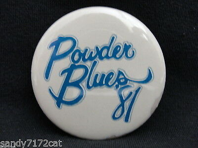 Pinback Button Powder Blues Band 1981 80s Vintage Canadian Vancouver BC Canada