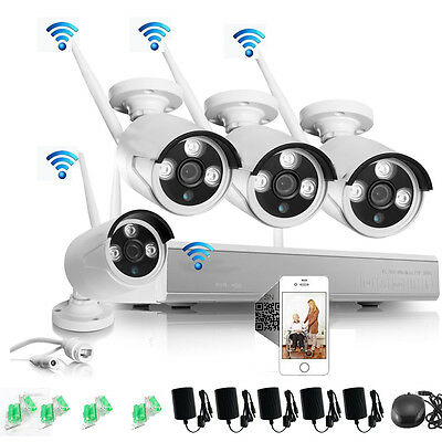 Wifi Outdoor 720P 4CH CCTV NVR Network Security Camera System Video Night Vision
