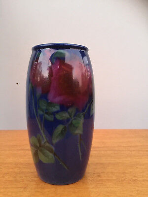 Hand Painted Red ROSES TITANIAN WARE cobalt Blue VASE RARE Royal Doulton English