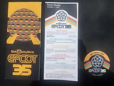 Walt Disney World - Epcot 35Th Anniversary Time Guide, Map And Button