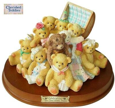 2002 Cherished Teddies 10 Year Anniversary, Doubled Signed, Limited Edition, Nib