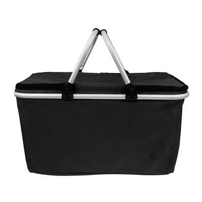 32L Large Insulated Cooler Bag Folding Collapsible 32L Picnic Basket Black