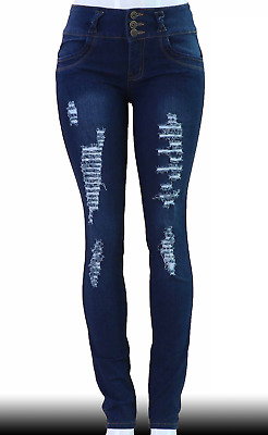 High Waist  Stretch Push-Up Colombian Style Skinny Jeans in Dk.blue  G70A
