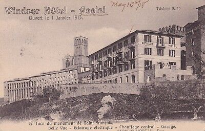 Assisi Italy Windsor Hotel Postmarked Assisi Perugia 1918 Vintage Postcard