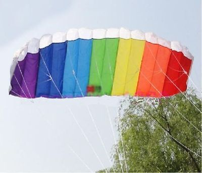 120cm MULTICOLOUR Frameless Parafoil Stunt Sport Kite Twin Dual Line UK