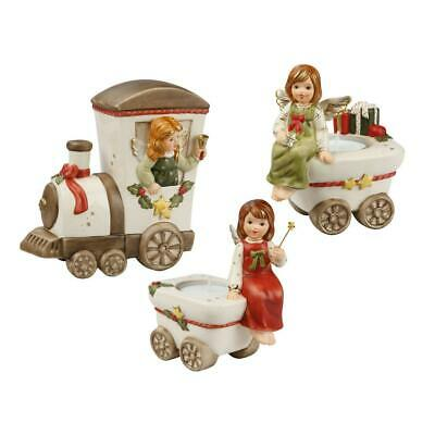 Train Engine and 2 Carriage Christmas Ornament in Champagne by Goebel