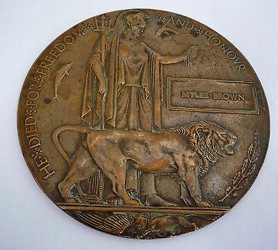 Ww1 Death Plaque Medal - 8Th Royal Scots Fusiliers Died Of Wounds Greece