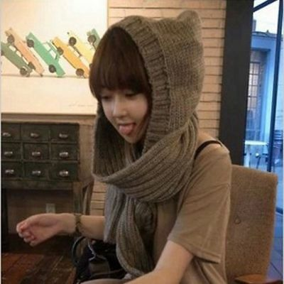 Womens Girls Knitted Scarf Hat Caps Braided Winter Warm Hooded Skiing Scarves