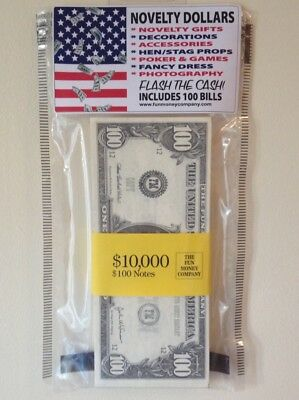 ONE PACK of Novelty Dollars (100 Double Sided Bills) Fake Pretend Fun Money