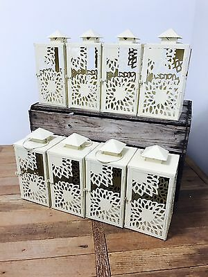 JobLot 8 Fairtrade Handmade Metal Candle  Lanterns Wholesale Shabby Chic Garden