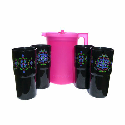 Tupperware Kaliopi Classic 2L Jug and 4 Tumblers Set NEW Pink Black with Decals