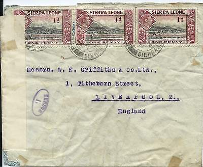Sierra Leone 1941 1d X 3 Censored Cover to Liverpool