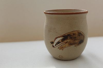 Vintage Stoneware Handmade Corris Pottery Pot with Badger & Vole Design