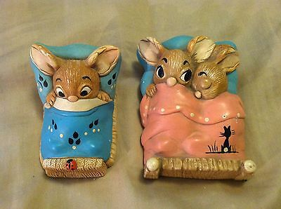 Set 2 Vintage Pendelfin Twins / Wakey Bedtime Rabbits Made In England