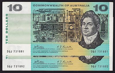 Ten Dollars $10 Australian Banknote 1968 Phillips Randall P-303 Consecutive Pair