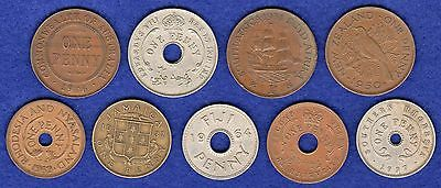 British Commonwealth & Colonial Pennies, 9 Different, inc Ed VIII  (Ref. t0638)