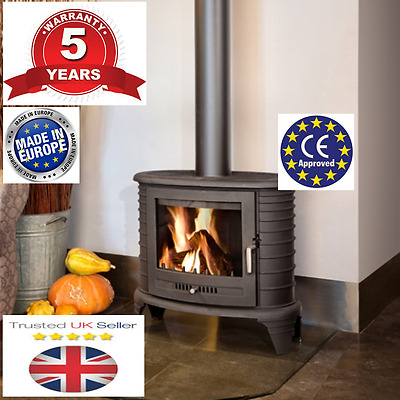 Wood Burning Stove Curved Style up to 11kW +optional glass floor plates RPR