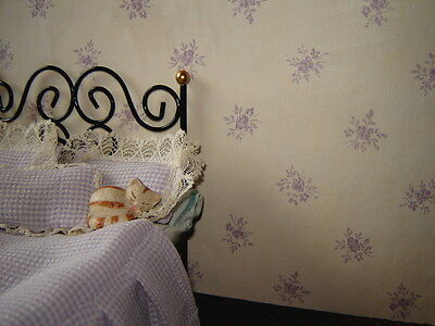 lilac on cream dolls house wallpaper  two sheets for the price of one