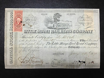 Little Miami Railway Company 1870 Thirty Shares Certificate