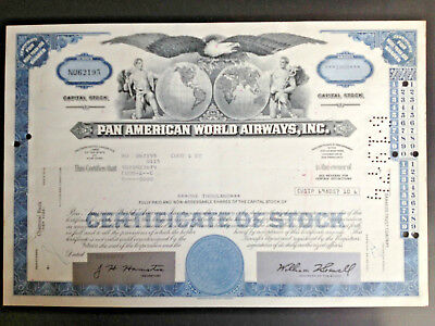 Pan American World Airways 1,000 Shares Certificate