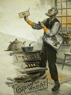 Brewer CREAM OF WHEAT Ad BOX is EMPTY BY HECK 1915 Matted