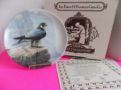 Vintage Bradford Exchange Collector Plate Knowles China Company Peregrin Falcon