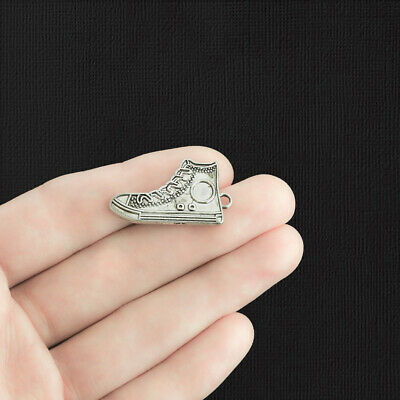 6 Running Shoe Charms Antique Silver Tone High Top Sneaker - SC4115