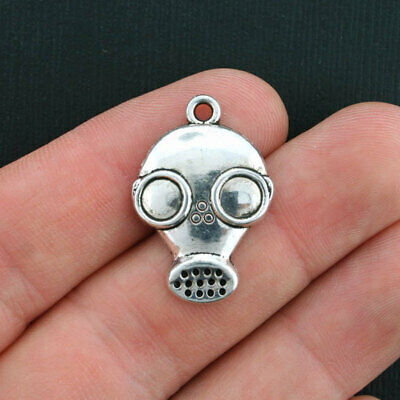 10 Mask Charms Antique Silver Tone SC1631