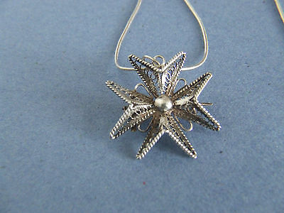 Vintage Silver Filigree Maltese Cross Necklace/Brooch Unusual & Quality Bargain