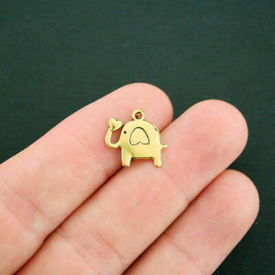 15 Good Luck Elephant Charms Antique Gold Tone Buena Suerte - GC817